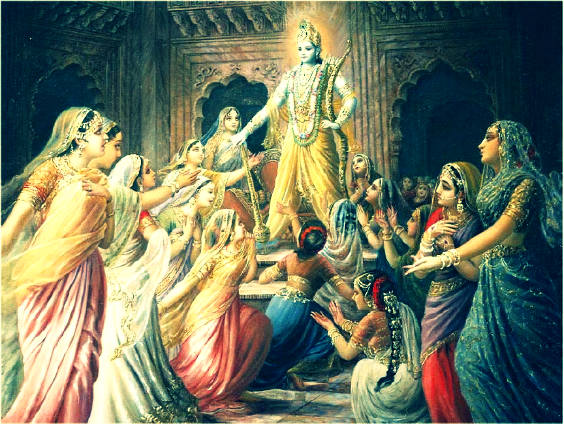 Narkasur held to death by krishna, his kept 16100 women urges to do some for them