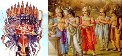 the mythological family connection of rawana and pandava's