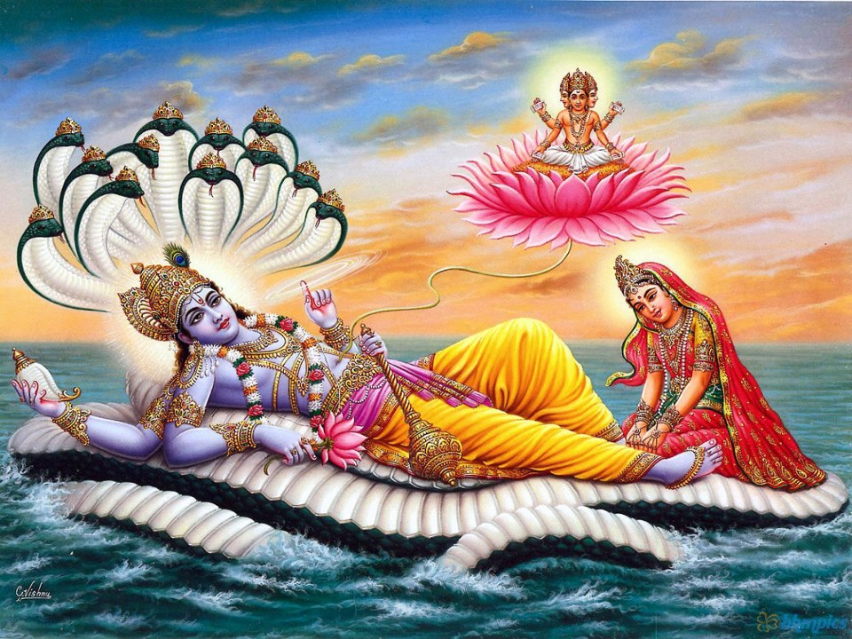 Lord Vishnu, Goddess Laxmi is the point of pressing the foot?