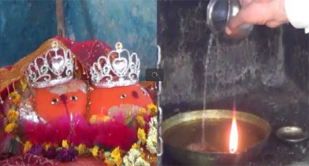 Really butter, water instead of oil lamps in the temple burns