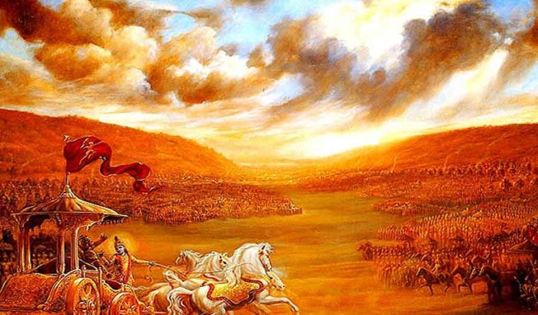 Yudhisthira in the Mahabharata war by sin, hell had to look