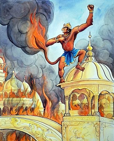 Lord hanuman got angry on burning tail by rawana