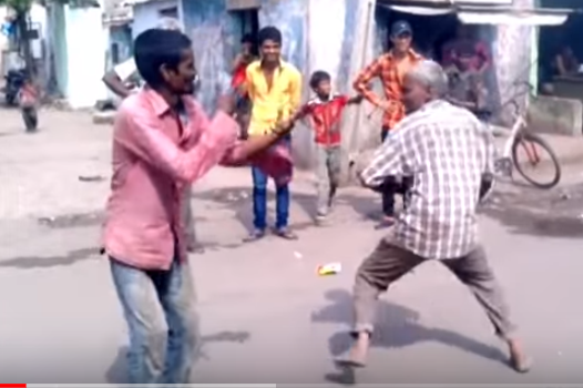 Drunken old man fight for there pride!