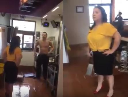 Fight caught in camera in restorant